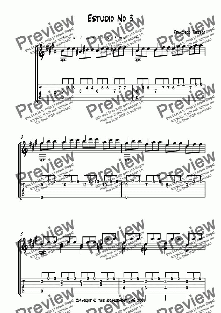 Estudio No 3 Francisco Tarrega Guitar Solo with TAB for Solo instrument  (Acoustic Guitar [notation]) by Francisco Tarrega - Sheet Music PDF file to