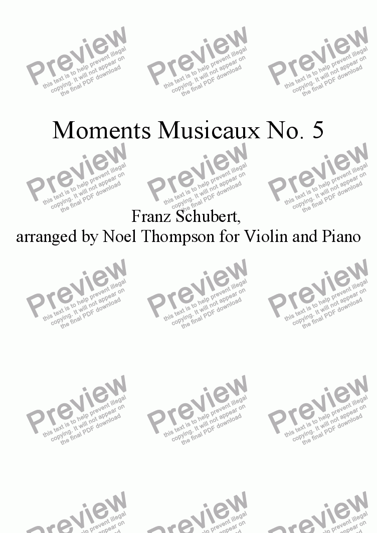 page one of Schubert's Moments Musicaux No. 5 arr. for Violin and Piano