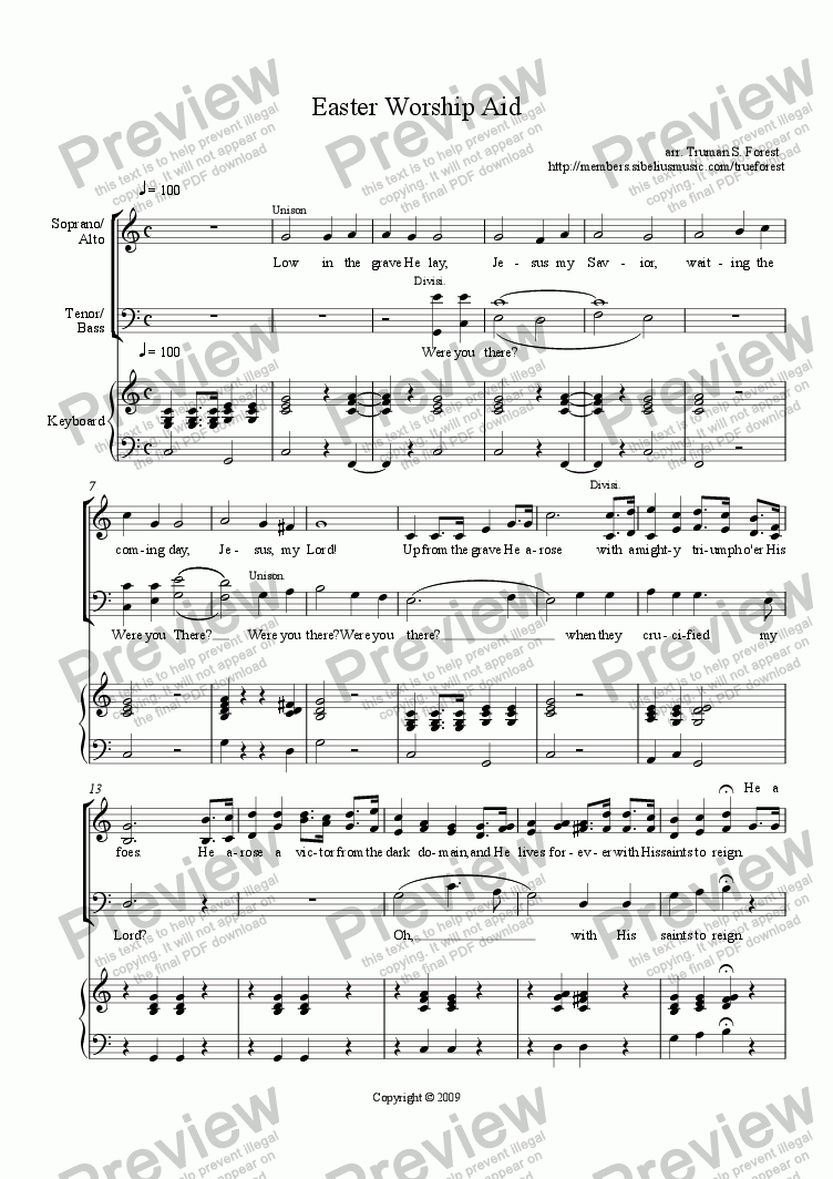 page one of Easter Worship Aid - SATB