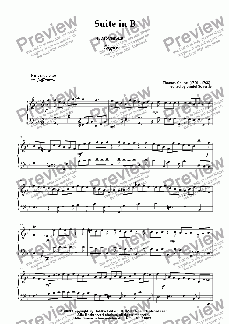 page one of Suite in B, 4. Mov. Gigue (Th. Chilcot)