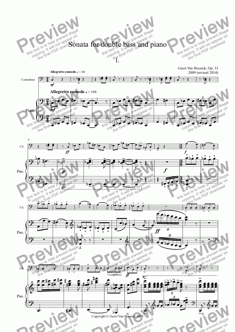 page one of Sonata for double bass and piano, Op. 33 - I. Allegretto comodo
