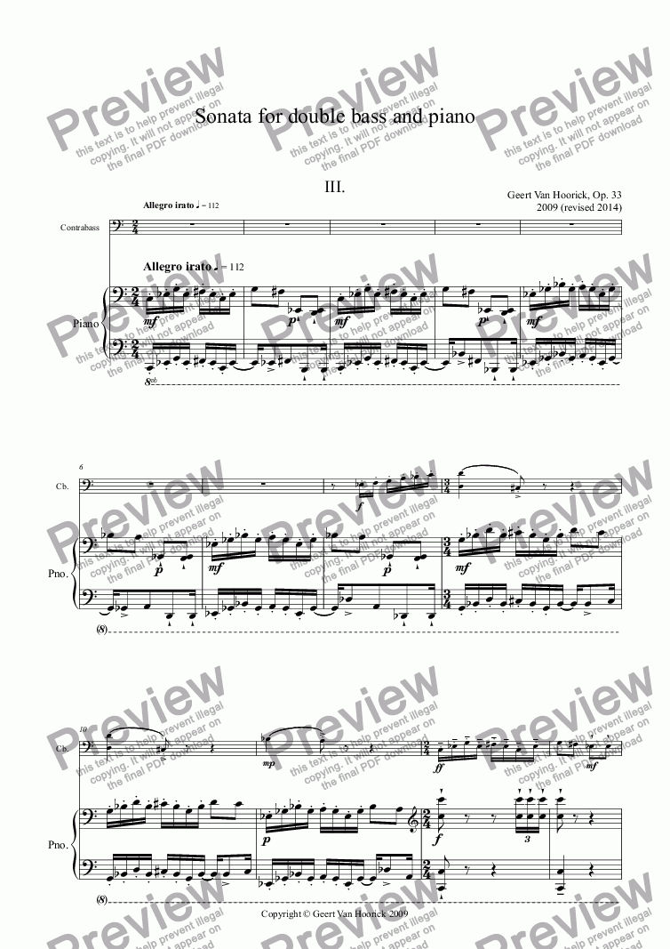 page one of Sonata for double bass and piano, Op. 33 - III. Allegro irato
