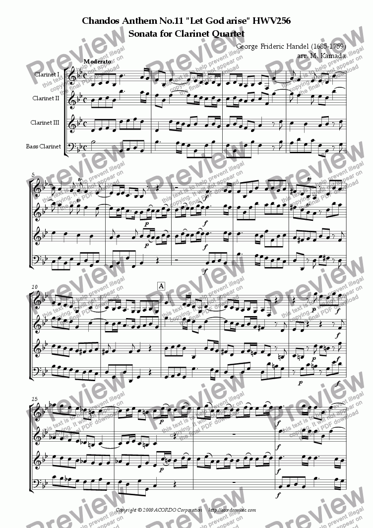 "page one of Chandos Anthem No.11 ""Let God arise"" HWV256 Sonata for Clarinet Quartet"