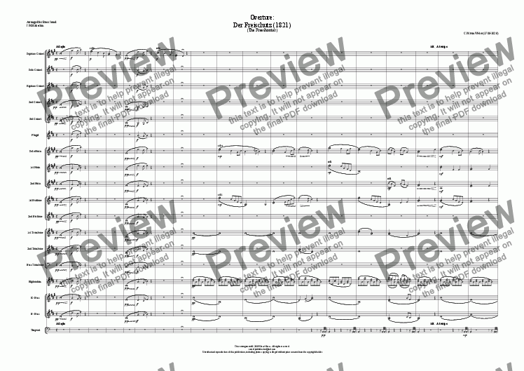 page one of Overture: Der Freischutz (Brass Band)