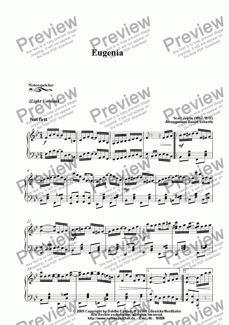 page one of Eugenia, Ragtime (Light Version, Sc. Joplin)