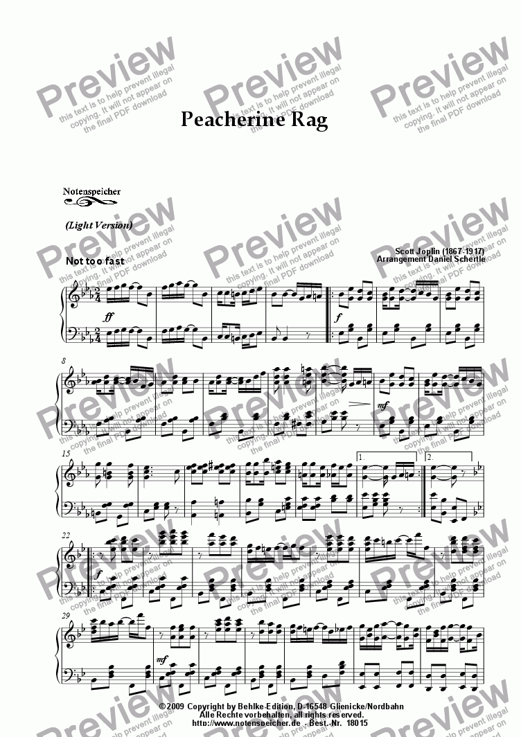 page one of Peacherine Rag, Ragtime (Light Version, Sc. Joplin)