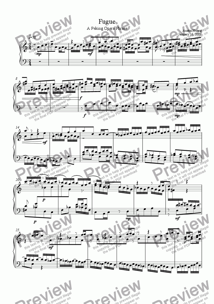 page one of  China Series 03: Prelude and Fugue - Fugue