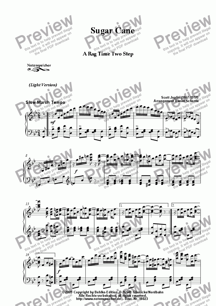 page one of Sugar Cane, Ragtime (Light version, Sc. Joplin)