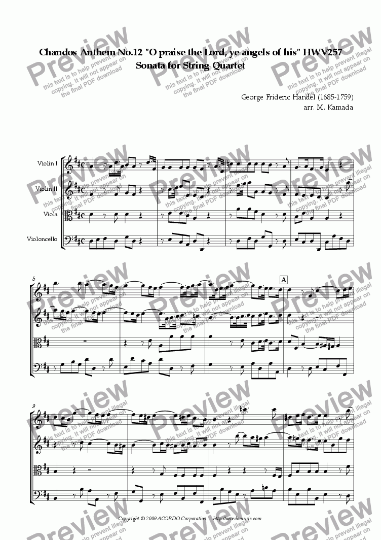 "page one of Chandos Anthem No.12 ""O praise the Lord, ye angels of his"" HWV257 Sonata for String Quartet"