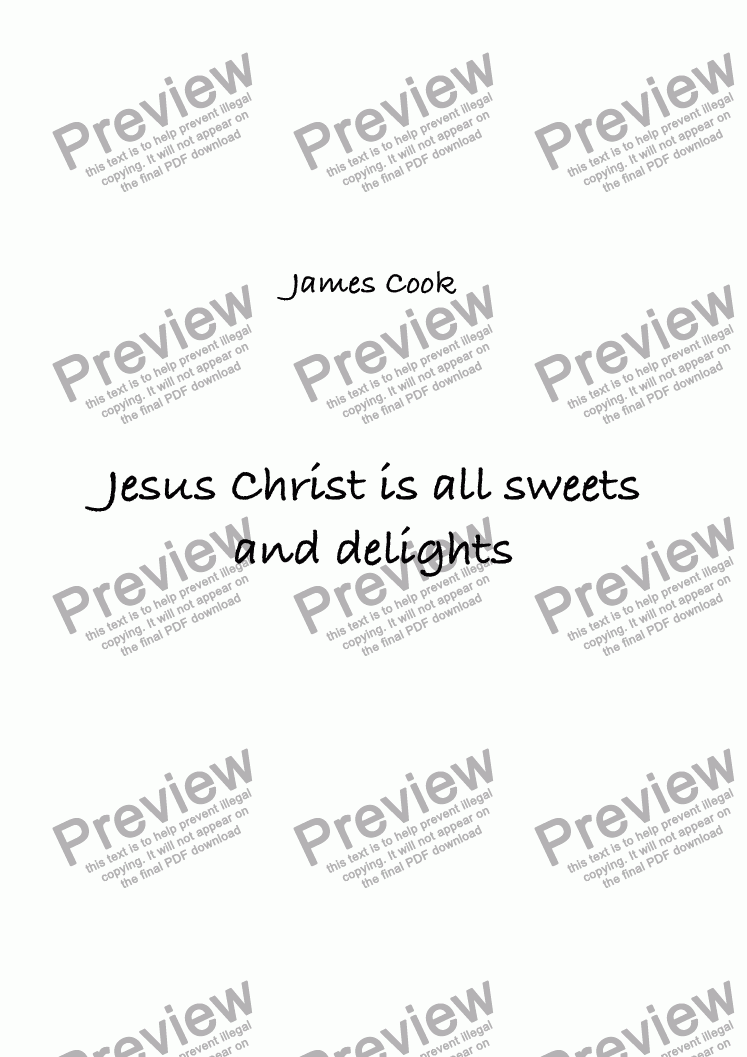 page one of Jesus Christ is all sweets and delights