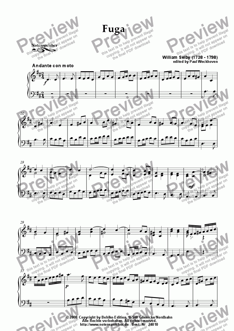 page one of Fuga in D major for small organ (W.Selby)