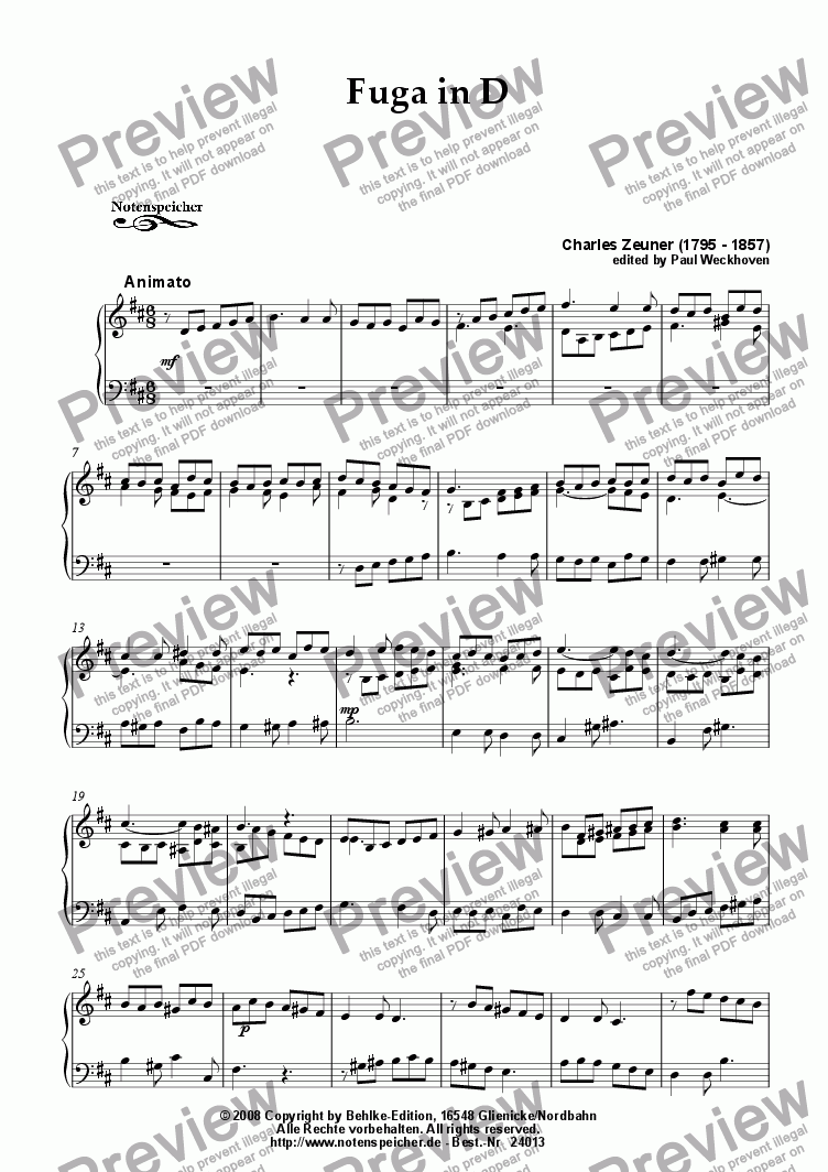 page one of Fuga in D major for small organ (Ch. Zeuner)