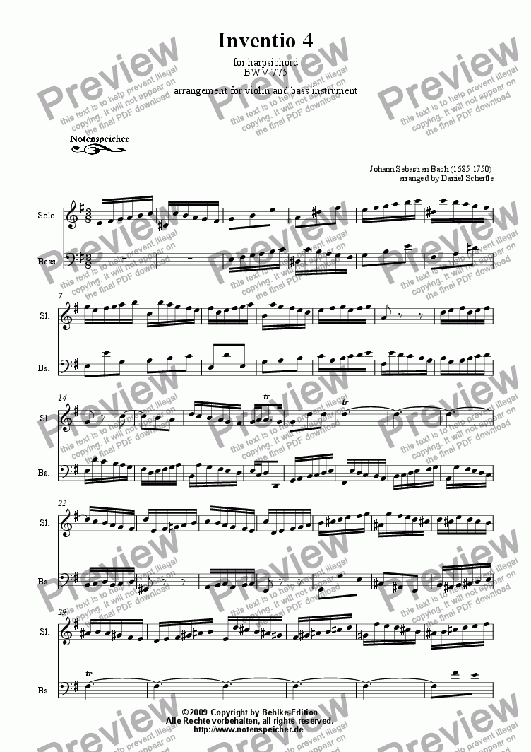 page one of Inventio Nr. 04 (transcripted and transposed for violin and violoncello, J.S.Bach)