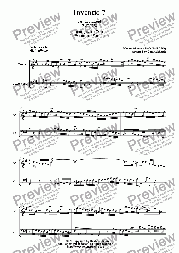 page one of Inventio Nr. 07 (transcription for Violin and Violoncello, J.S.Bach)