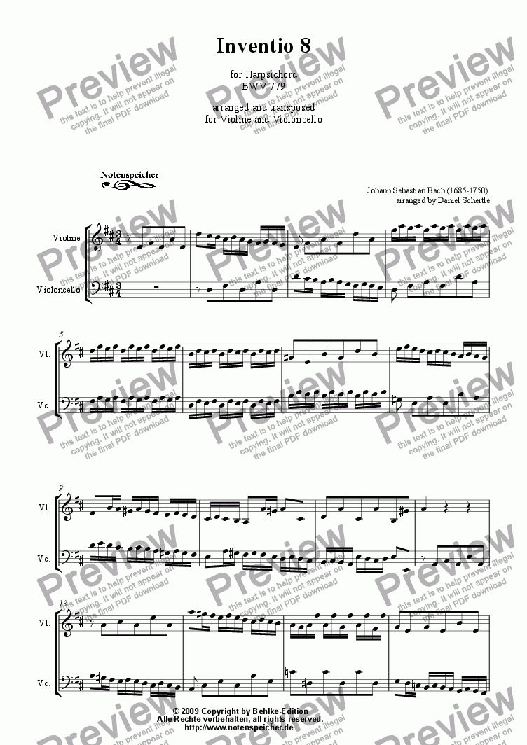 page one of Inventio Nr. 08 (transcripted and transposed for violin and violoncello, J.S. Bach)