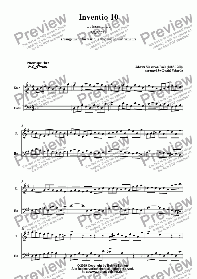 page one of Inventio Nr. 10 (transcription for woodwind instruments, J.S. Bach)ASALTTEXT