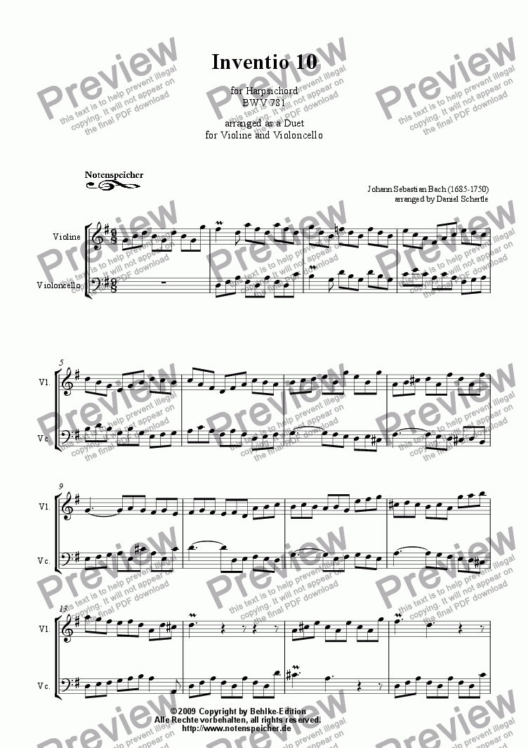 page one of Inventio Nr. 10 (Transcription for violin and violoncello, J.S. Bach)