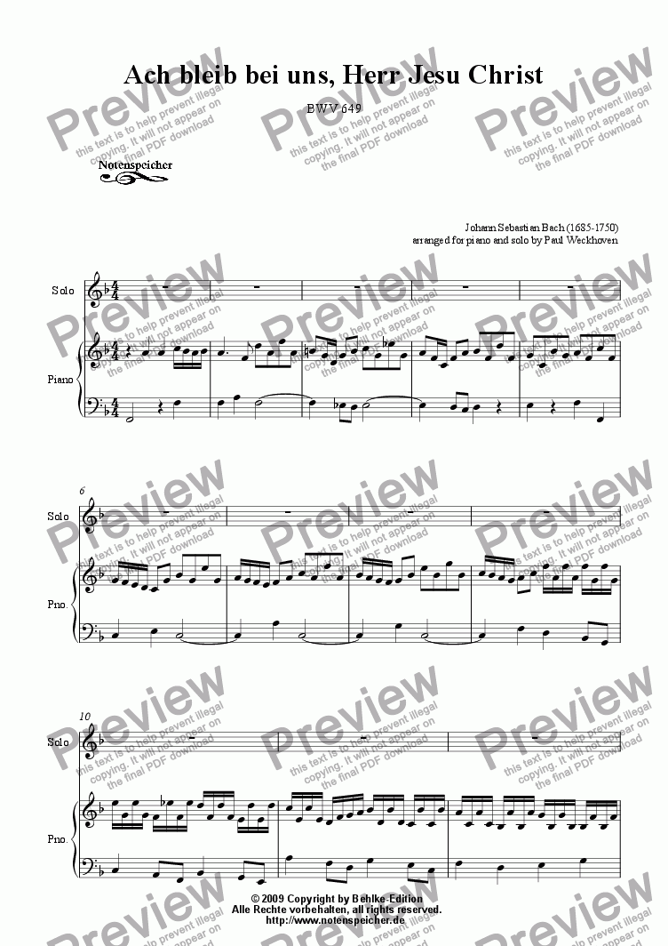 page one of Choral >Ach bleib bei uns, Herr Jesu Christ< (Transcription for Solo and Piano, J. S. Bach)