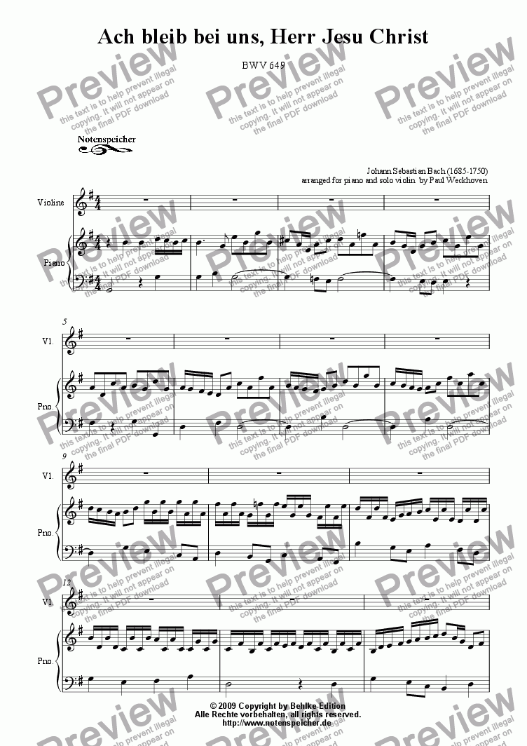 page one of Choral >Ach bleib bei uns, Herr Jesu Christ< (transcripted and transposed for violin and piano, J.S.Bach)