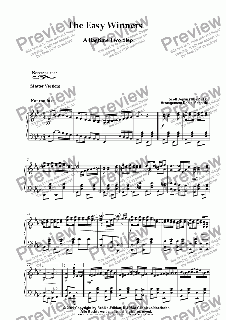 page one of The Easy Winners, Ragtime (Master Version, Sc. Joplin)