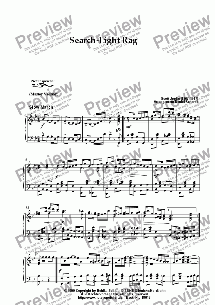 page one of Search-Light Rag, Ragtime (Master Version, Sc. Joplin)