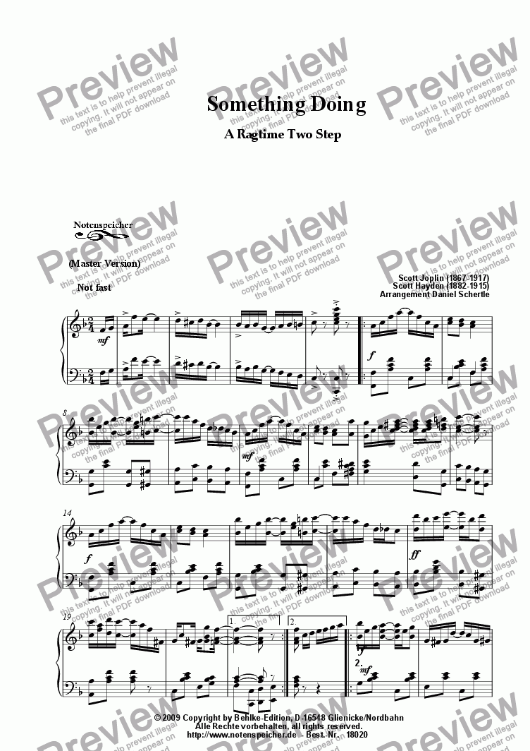 page one of Something Doing, Ragtime (Master Version, Sc. Joplin)