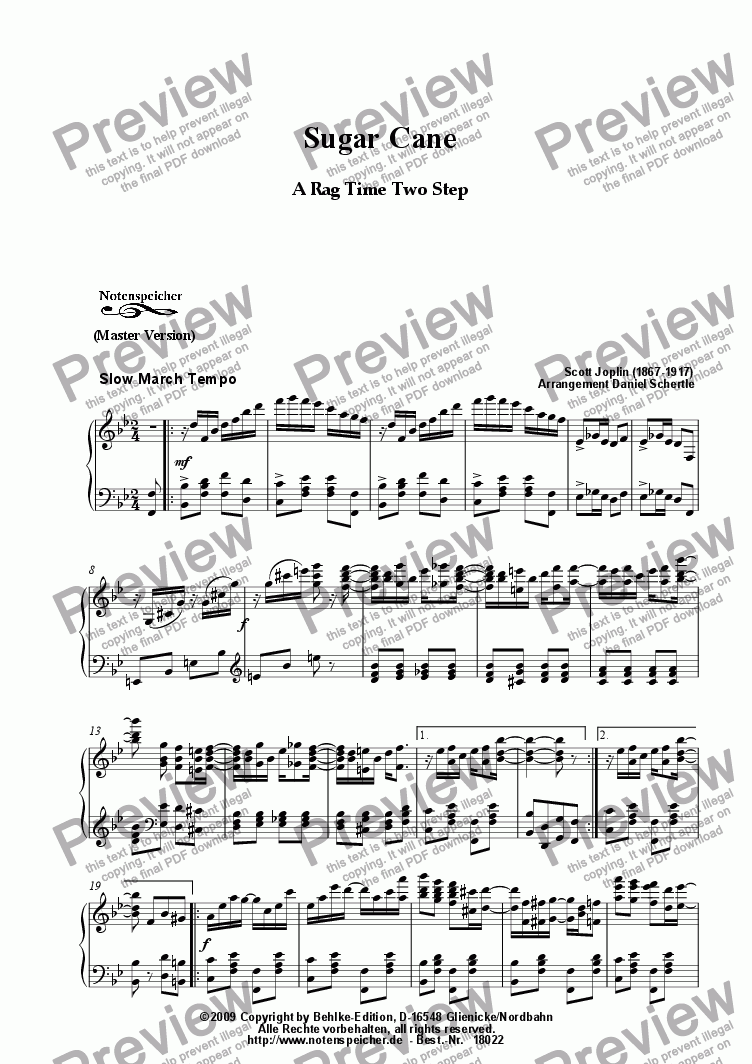 page one of Sugar Cane, Ragtime (Master Version, Sc. Joplin)