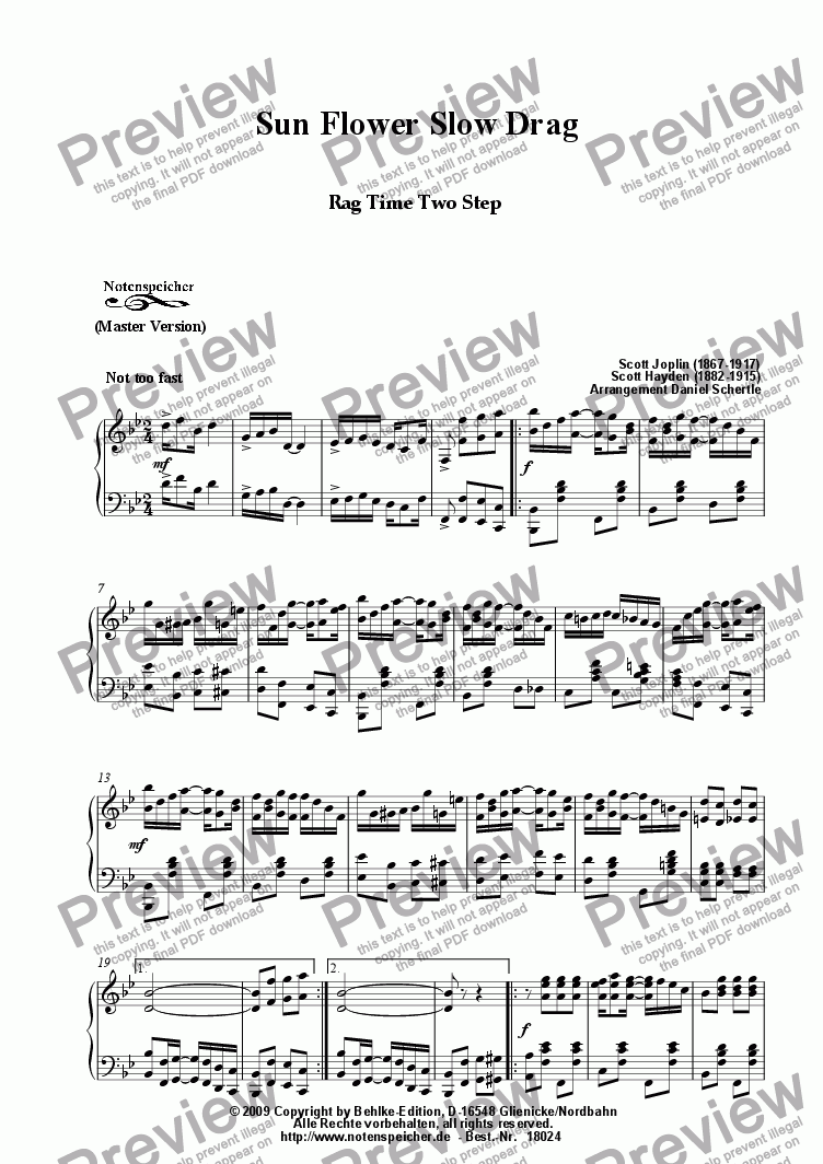 page one of Sun Flower Slow Drag, Ragtime (Master Version, Sc. Joplin)