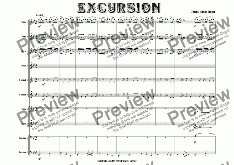 page one of Excursion - for Double Wind Quintet (wind decet)