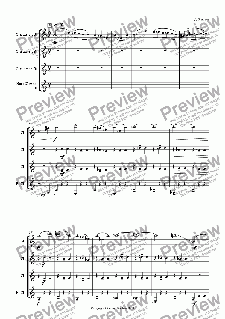 page one of 3/4 Clarinet Quartet