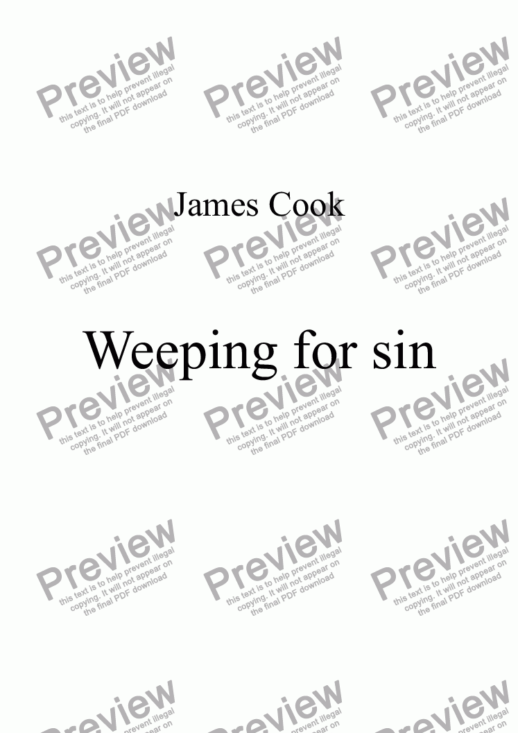 page one of Weeping for sin
