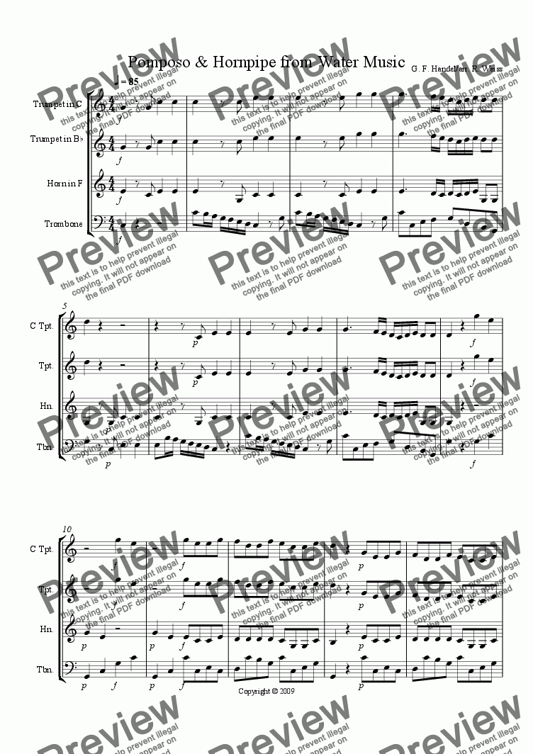 page one of Pomposo & Hornpipe from Water Music for Brass Trio