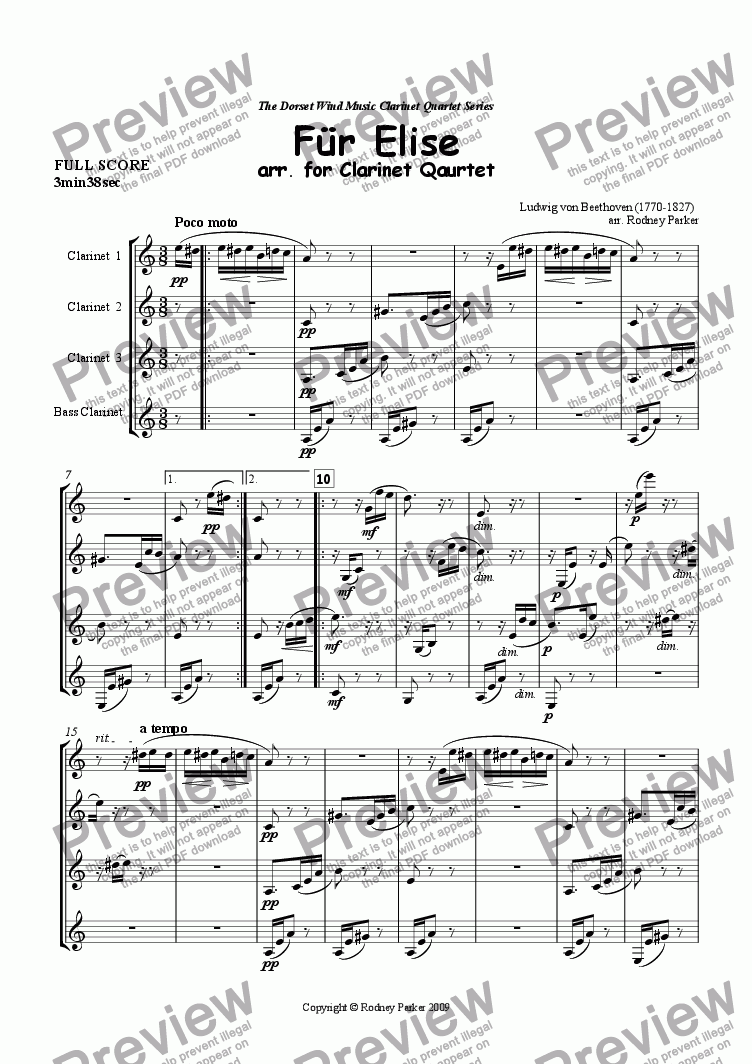 page one of F�r Elise arr. for Clarinet Quartet