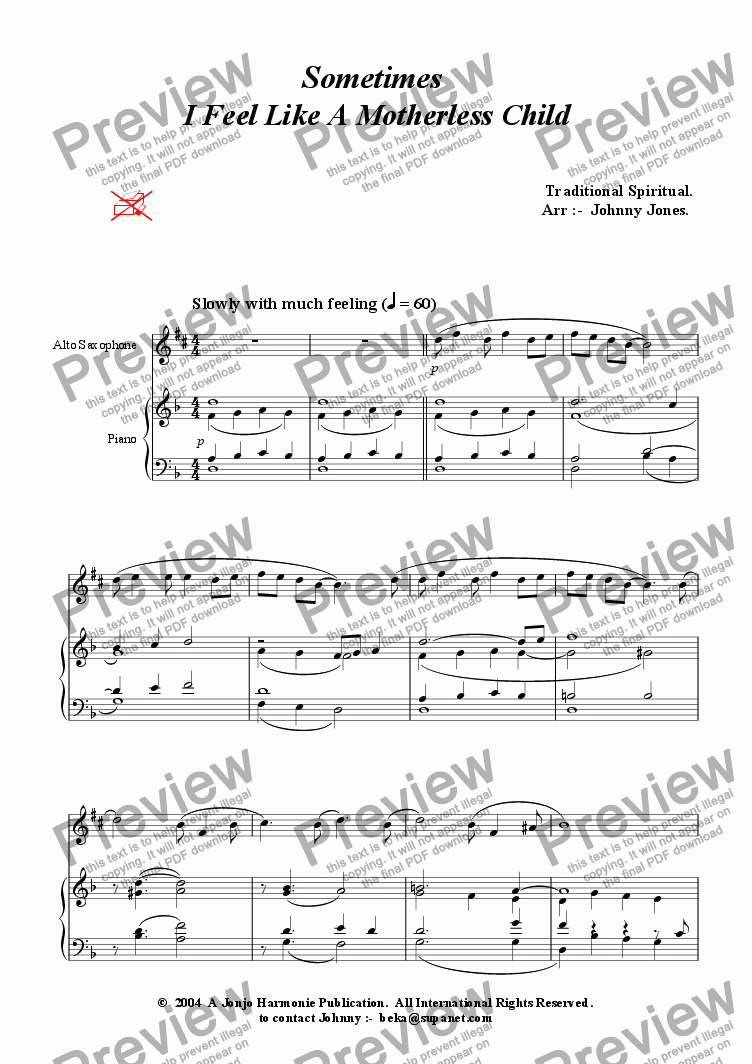 page one of Sometimes I Feel Like A Motherless Child   (Alto Saxophone and Piano)