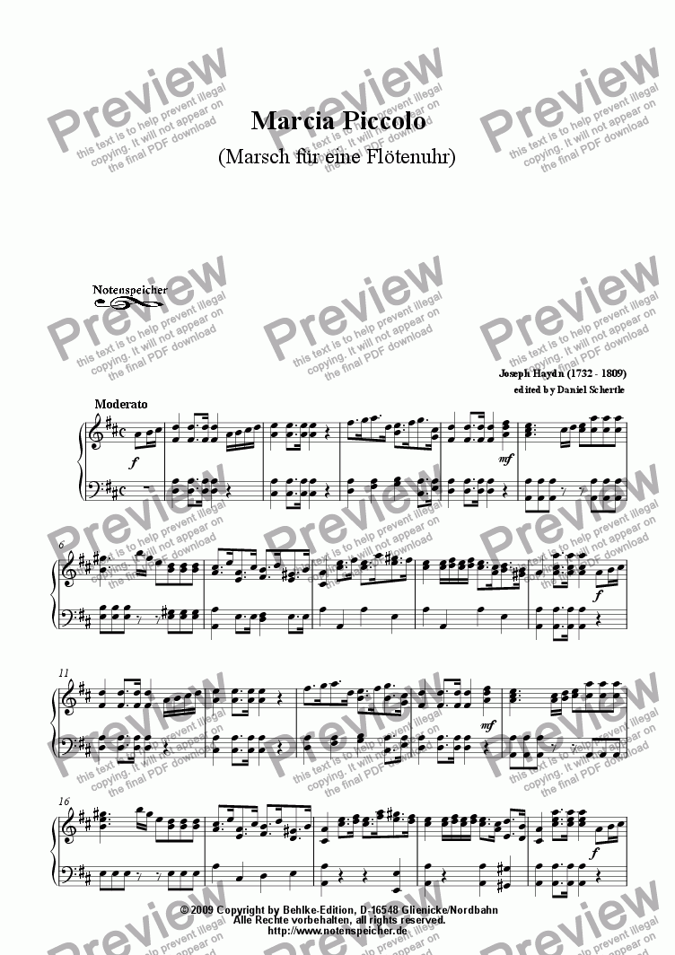 page one of Marcia Piccolo (March for a clock, J. Haydn)