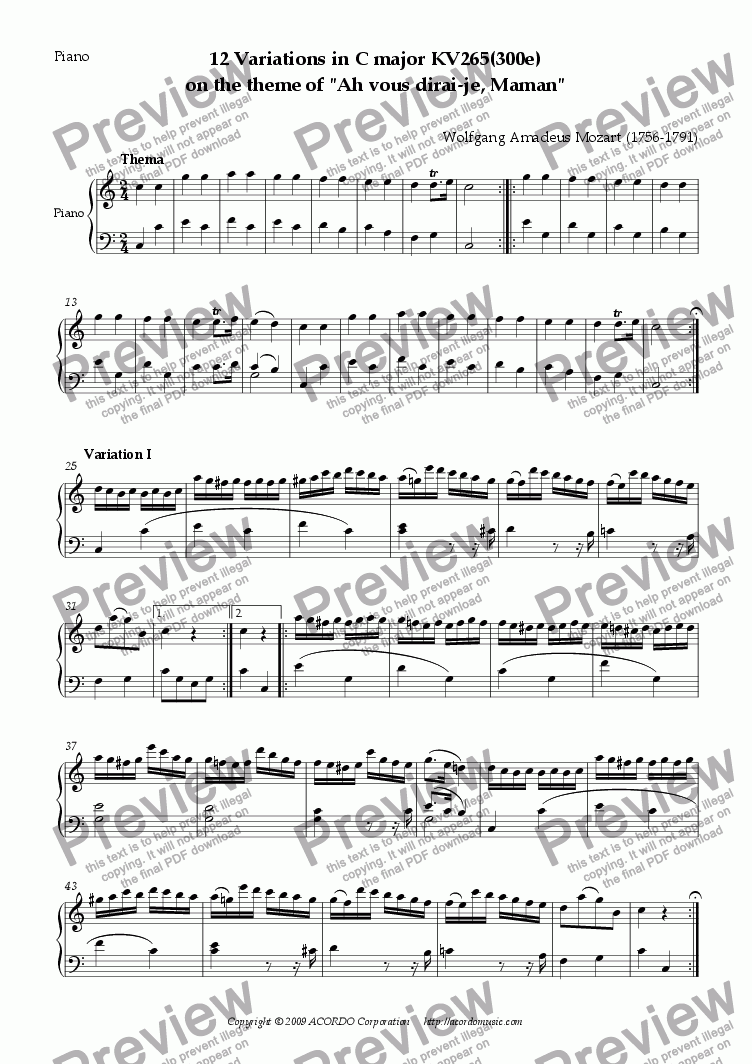 "page one of 12 Variations in C major KV265(300e) on the theme of ""Ah vous dirai-je, Maman"""