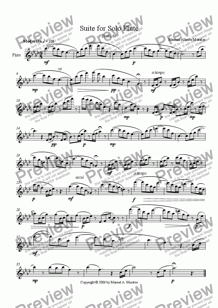 page one of Suite for Solo Flute, Prelude