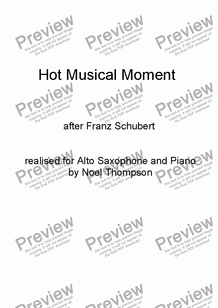 page one of Hot Schubert Musical Moment,realised for Sax & Piano - edited