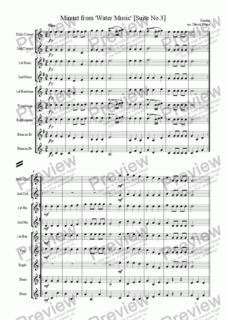 page one of Minuet from Water Music [Suite No. 3]