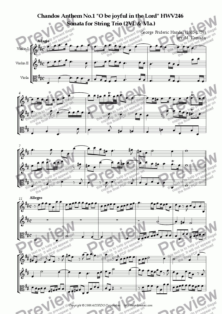 "page one of Chandos Anthem No.1 ""O be joyful in the Lord"" HWV246 Sonata for two Violins & Viola"
