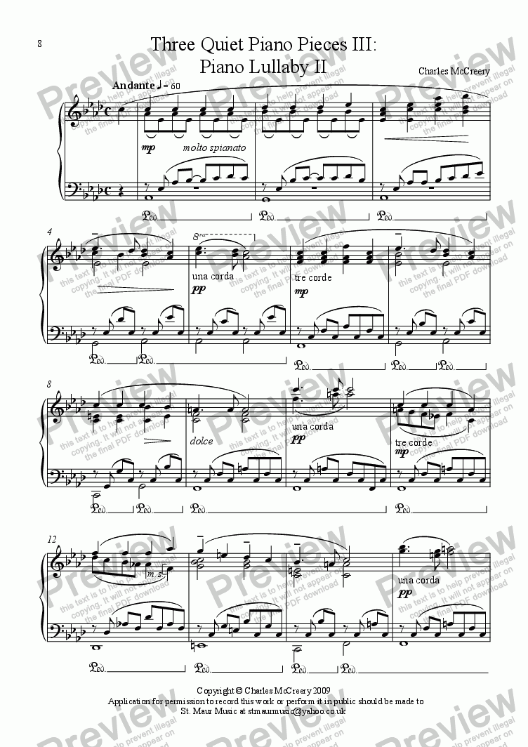 page one of Piano Lullaby II