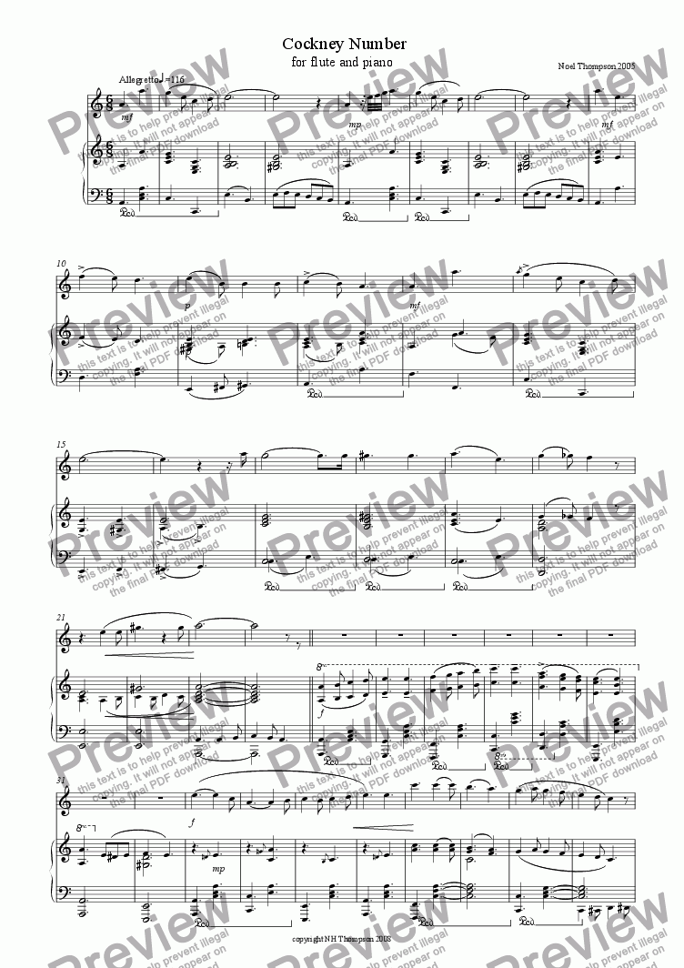 page one of Cockney Music Hall Number for flute
