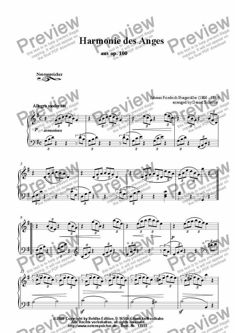 page one of L'Harmonie des Anges from op, 100 (J.F.F. Burgmueller)