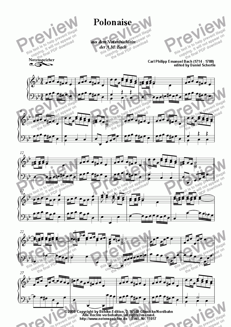 page one of Polonaise II in G minor, Notenbuechlein A.M. Bach (C.Ph.E.Bach)
