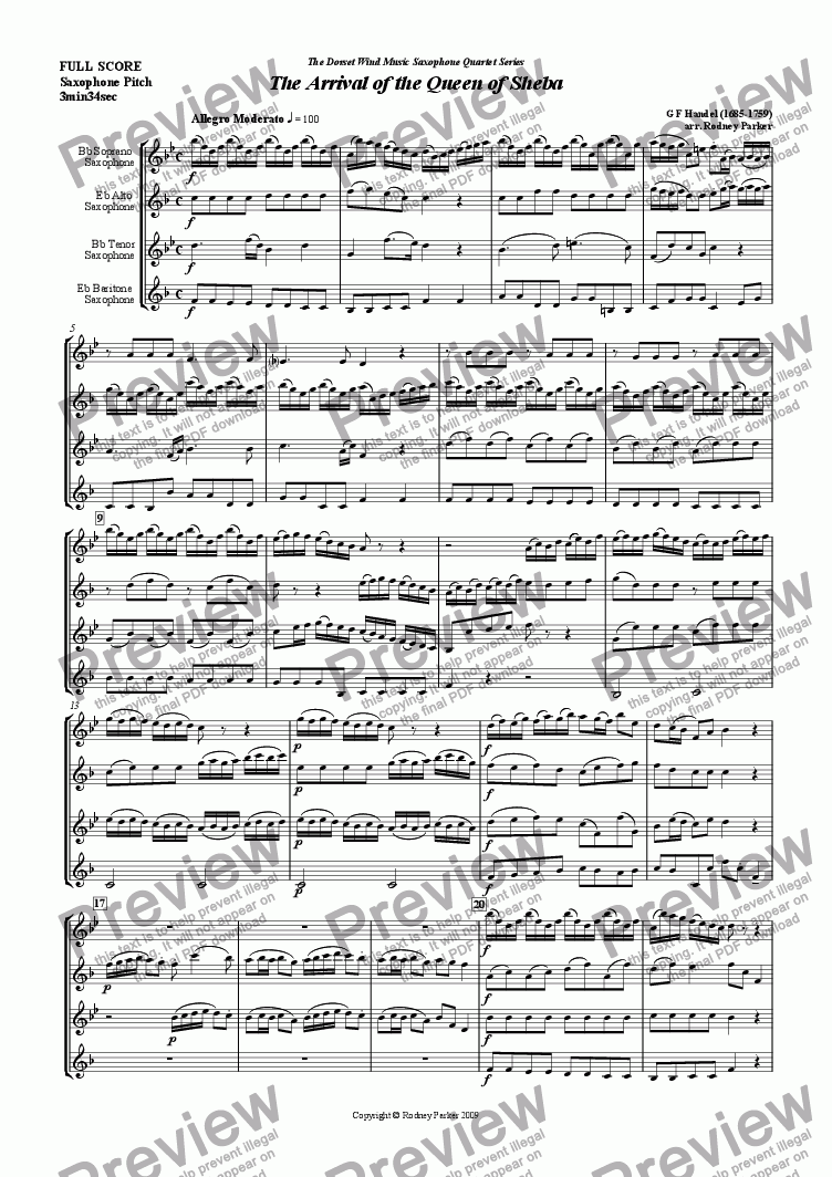 page one of The Arrival of The Queen of Sheba arr. for Saxophone Quartet