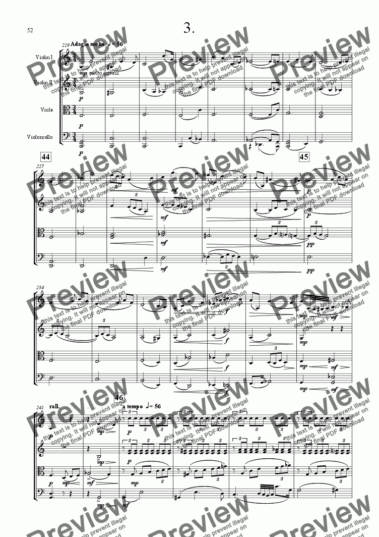 page one of String Quartet No 2 3rd movement