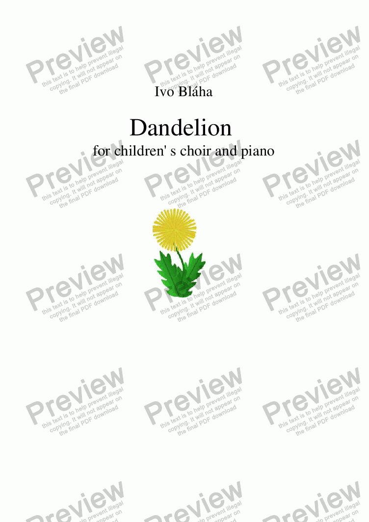 page one of DANDELION (Pampeliška) for children's choir and piano (English words)