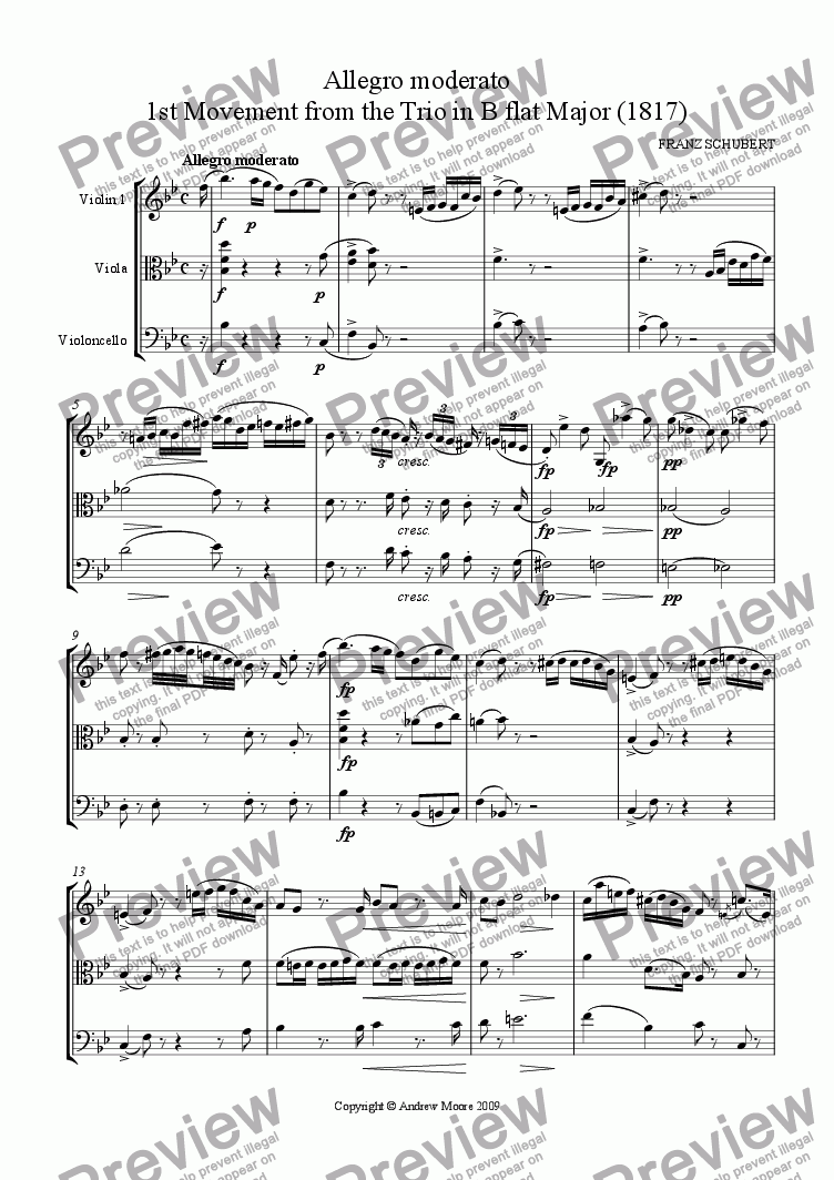 page one of 'Allegro moderato' for String Trio (1st Movement from Trio No. 2)