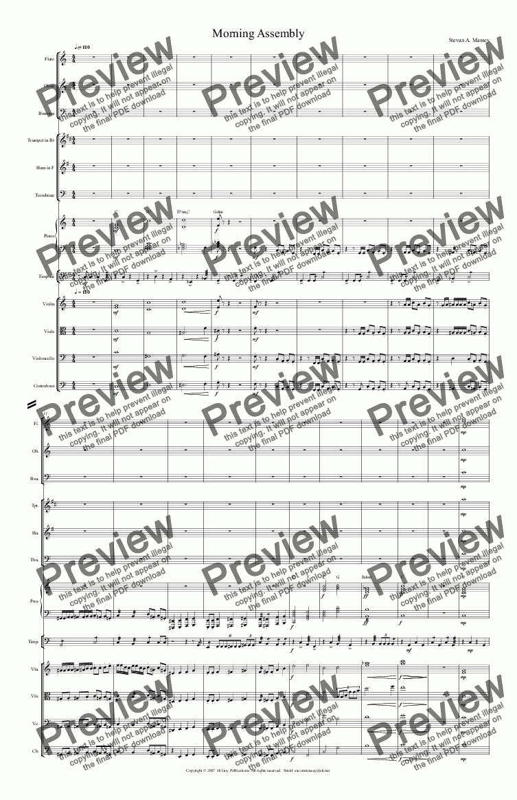 page one of Morning Assembly  (NEW CLASSICAL/POP - large ensemble)