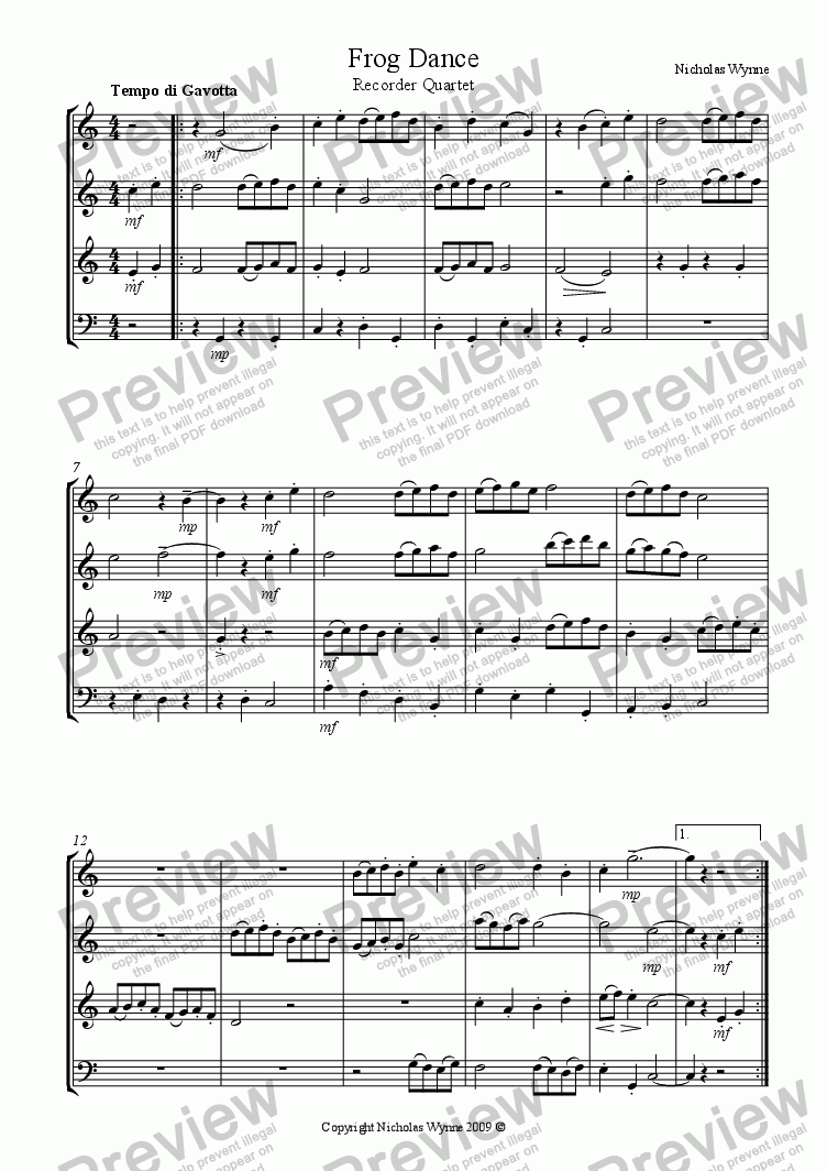 page one of Frog Dance for Recorder QuartetASALTTEXT